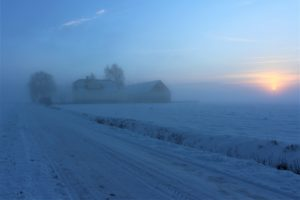Mist on a snowy farm with a lull