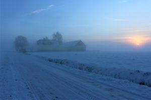 Mist on a snowy farm with a lull
